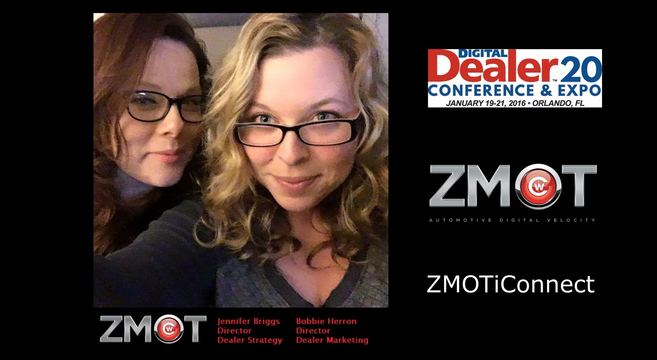 Chat on your website is no longer an option, it's a necessity.  Join our Director of Dealer Strategy, Jennifer Briggs, at #DD20 where she will be presenting our newest product ZMOT iConnect- a managed chat service that allows the chat operator to connect consumers directly to your sales staff at the dealership via video chat.  Capture, Connect and Close with ZMOT iConnect.