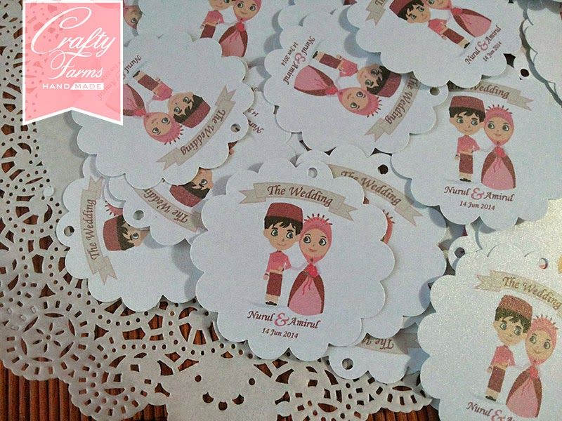 Cute Malay Couple Small Tags For Wedding Gifts And Favors