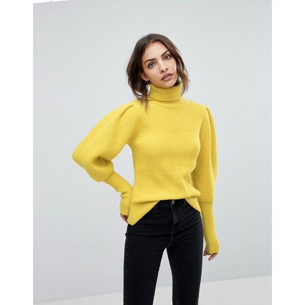 Warehouse Premium Balloon Sleeve Jumper ($89) ❤ liked on Polyvore featuring  tops, sweaters