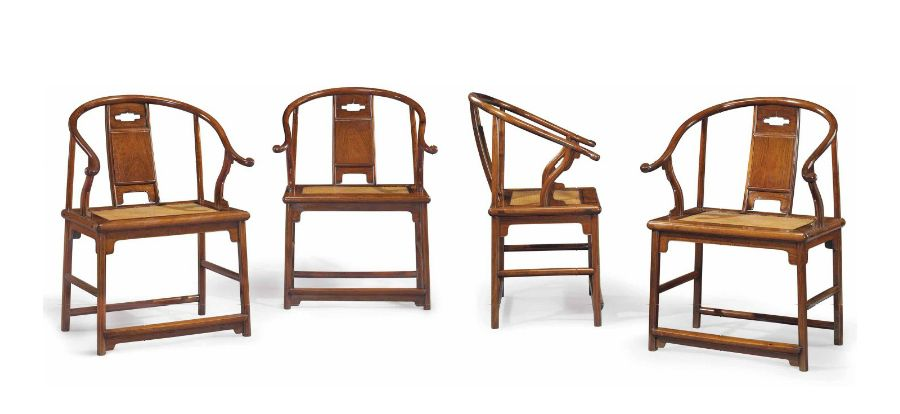 This important set of four huanghuali horseshoe-back armchairs, Ming dynasty, 17th century, sold at Christie's New York in March 2015 for $9,685,000. The elegant chairs were among the 'Masterworks' in the renowned collection of Robert Hatfield Ellsworth, who had acquired them before 1971. Courtesy Christie's New York.