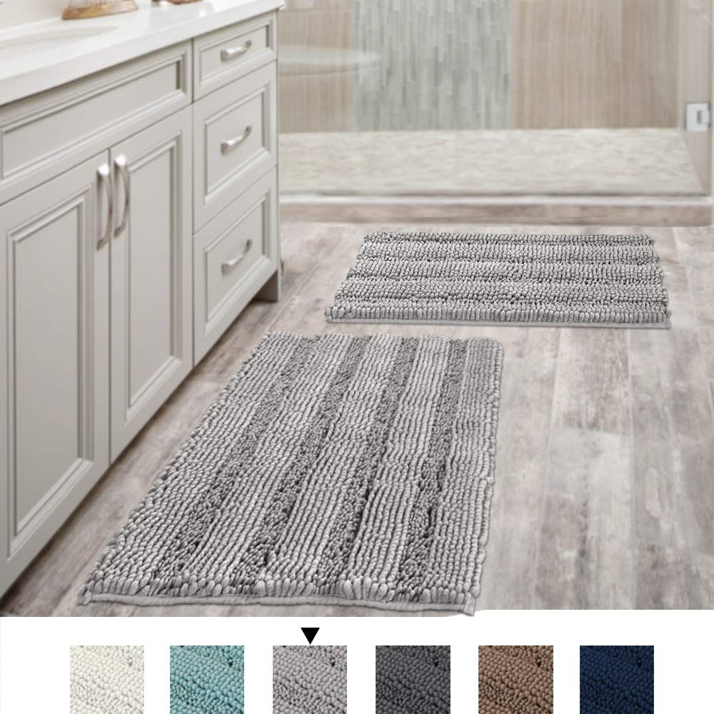 Popeven Non Slip Thick Shaggy Chenille Bathroom Rugs Soft Bath Mats For Bathroom Extra Absorbent Floor Mats Bath Rugs Set For Kitchen Living Room Set Of 2 20 Grey Bathroom Rugs Bath [ 1000 x 1000 Pixel ]
