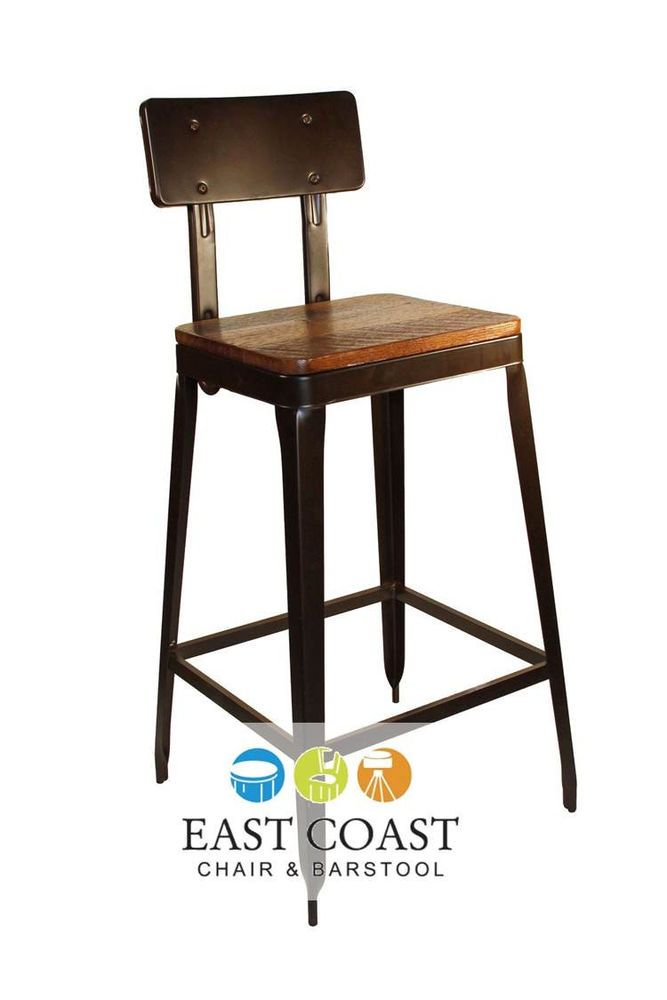 New Simon Steel Bar Stool With Antique Rust Finish And Reclaimed Wood Seat Industrial Metal Chairs Metal Chairs Industrial Bar Stools Metals