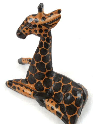 Hand Carved Wooden African Baby Giraffe Statue Laying Downamazon