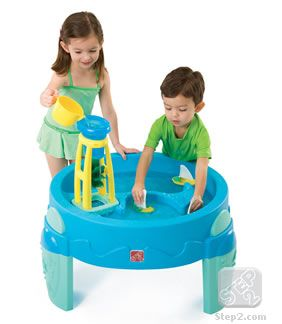 This is my favourite water table.  I have owned several.  Built one, bought one, and this one was reclaimed from former owners.  THIS is my favourite, and seems to be the one I see in many photos of kids playing.