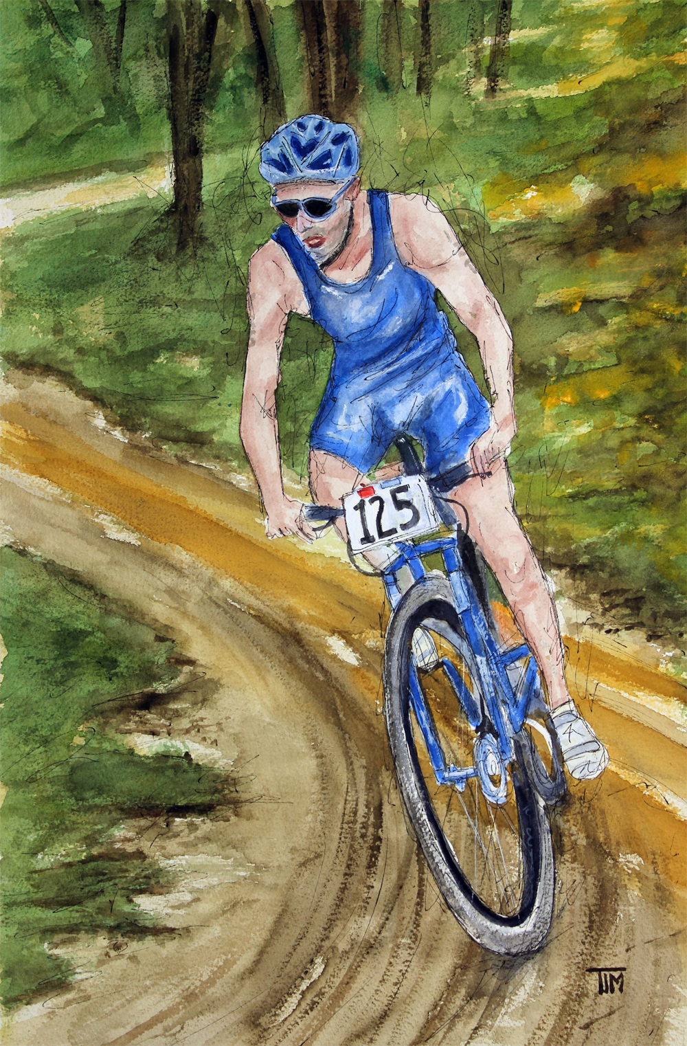 "A Watercolor painting by Tim Ross.  TITLE: ""Tearing Up up the Trail!""  www.timross.com"