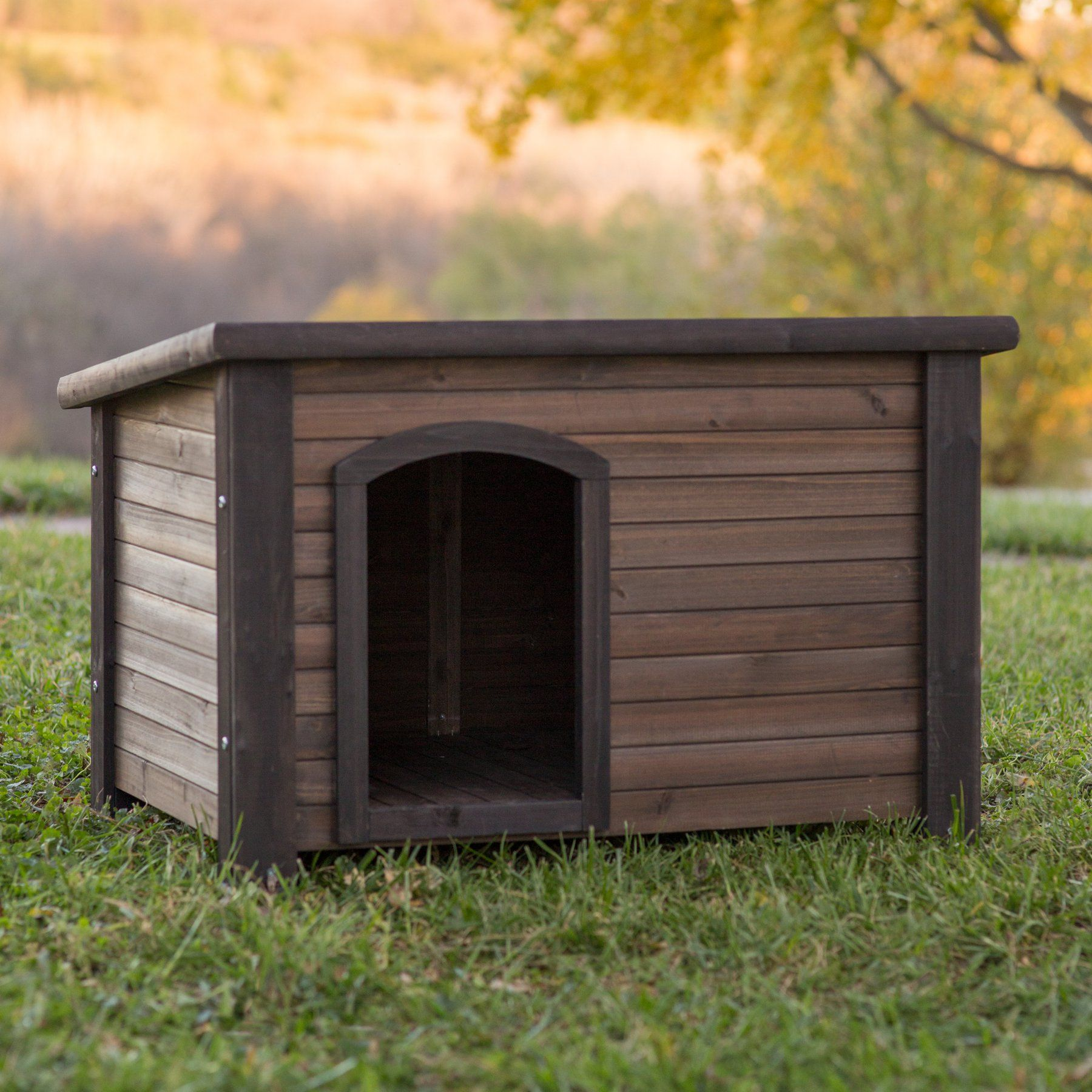 Boomer George Log Cabin Dog House With Stainless Steel Bowls
