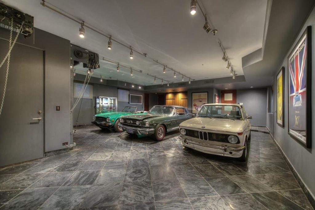 Contemporary Garage With Slate Tile Floors Flush Light High