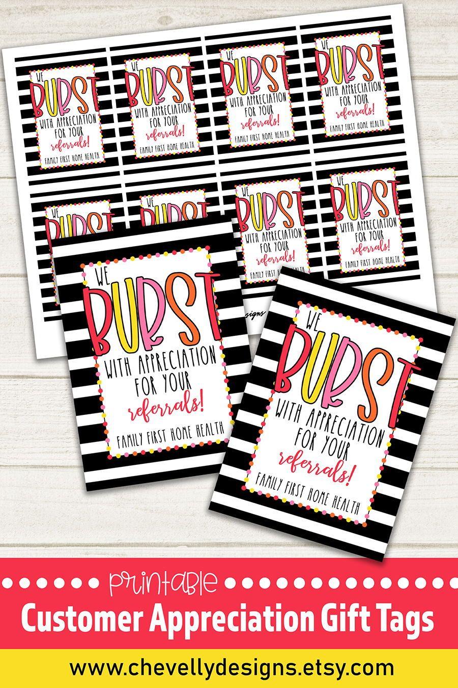 Customer appreciation gift tags printable and