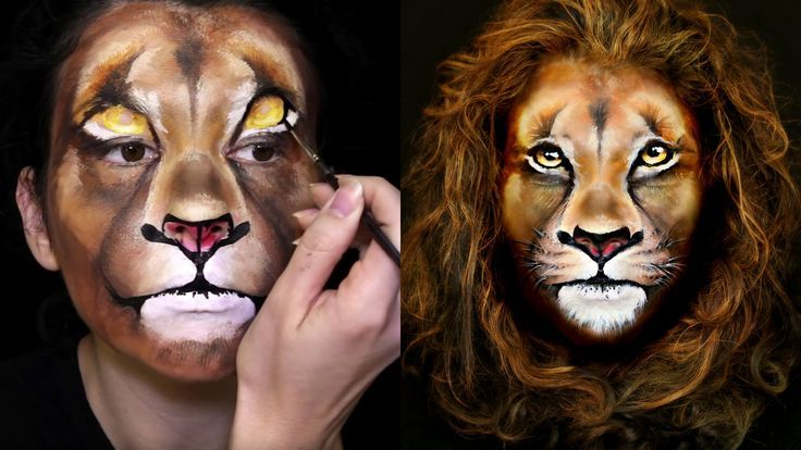 lion makeup face painting tutorial face painting ideas pinterest gesicht schminken l we. Black Bedroom Furniture Sets. Home Design Ideas