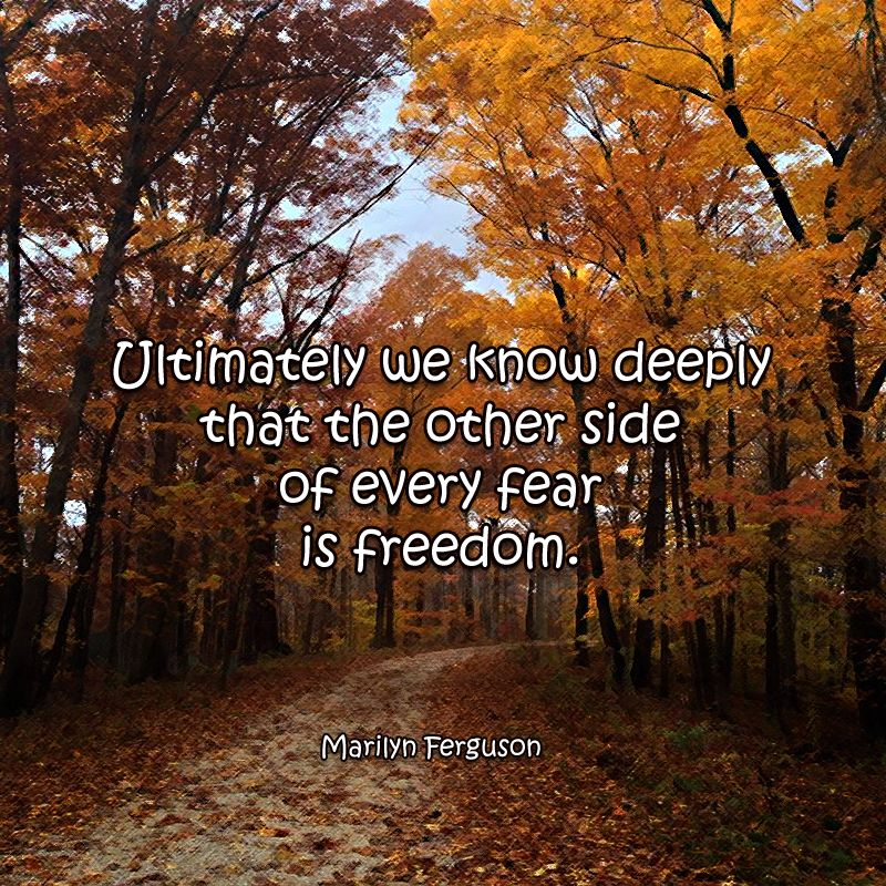 Ultimately We Know Deeply That The Other Side Of Every Fear Is Freedom Marilyn Ferguson Photo Autumn In Brown County Quotable Quotes The Other Side Fear