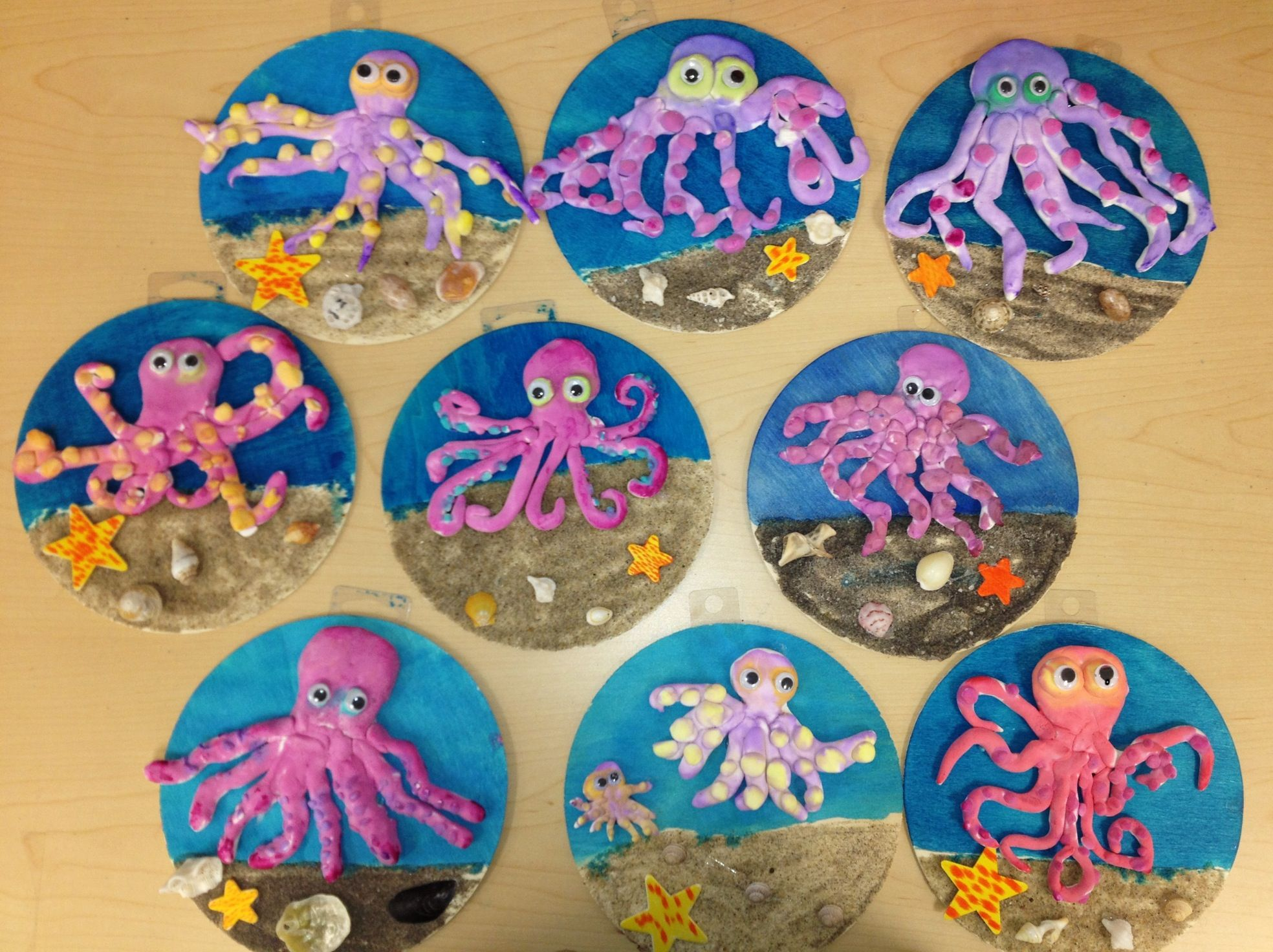 clay octopus on wood w sand elementary art art teacher v