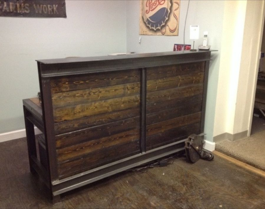 Small Barn Wood and Iron Reception Desk - Small Barn Wood And Iron Reception Desk Praktyk Pinterest