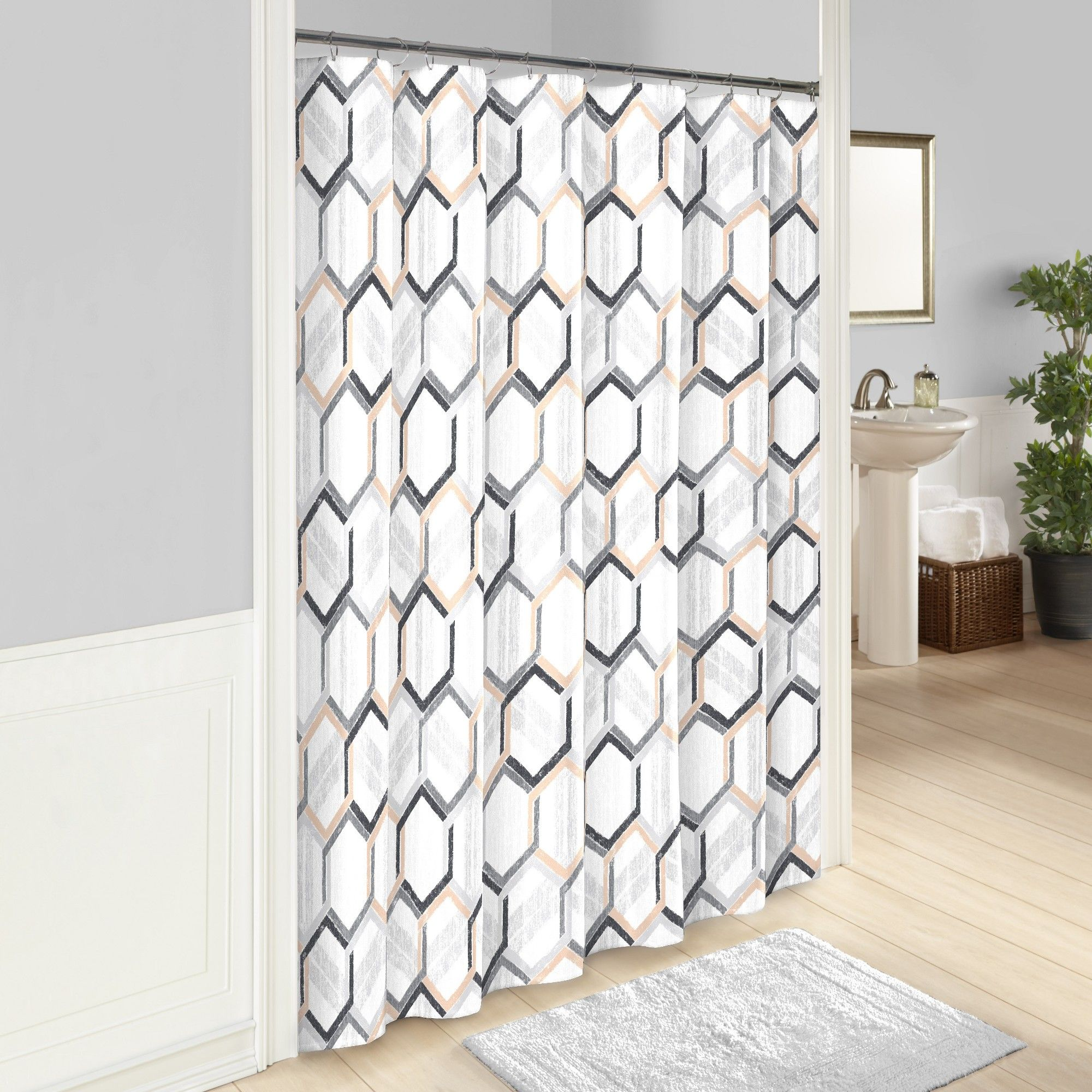 Hexagonal Printed Shower Curtain Gray Vue Shower Curtains