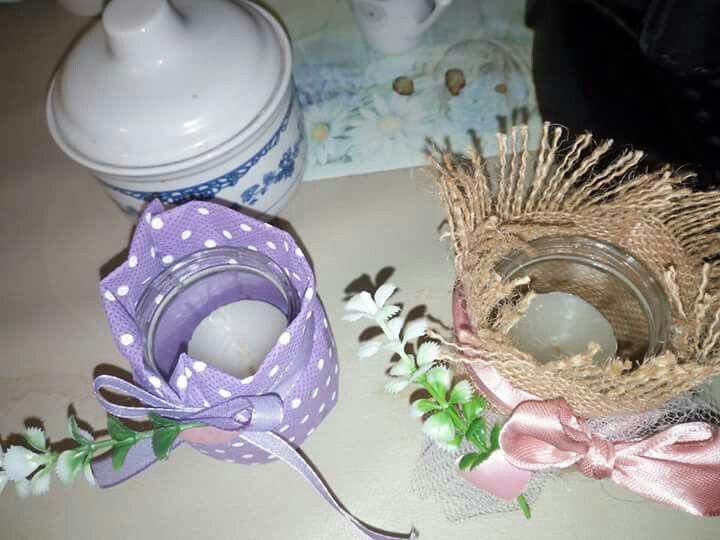 Porta candele realizzati con vasetti dell'omogenizzato