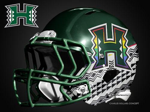 Hawaii 54 Hawaii Rainbow Warrior Helmets With My New Version Of The Logo Hawaii Athletics Ha Football Helmet Design Football Helmets Nfl Football Helmets