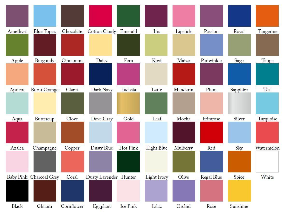 Bridesmaid Dress Colour Samples