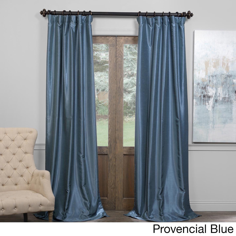 Exclusive Fabrics True Blackout Vintage Textured Faux Dupioni Silk Curtain Panel Velvet Curtains