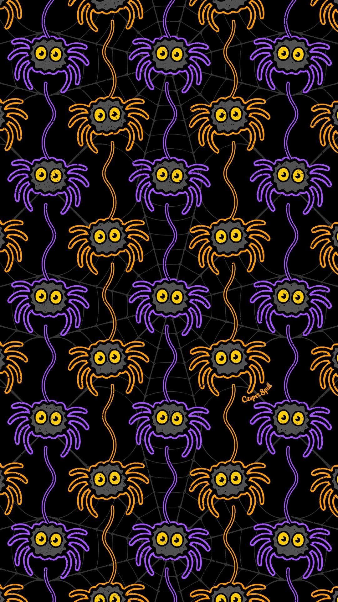 Spider Pattern By Casper Spell Halloween Wallpaper Halloween Wallpaper Iphone Spooky Background