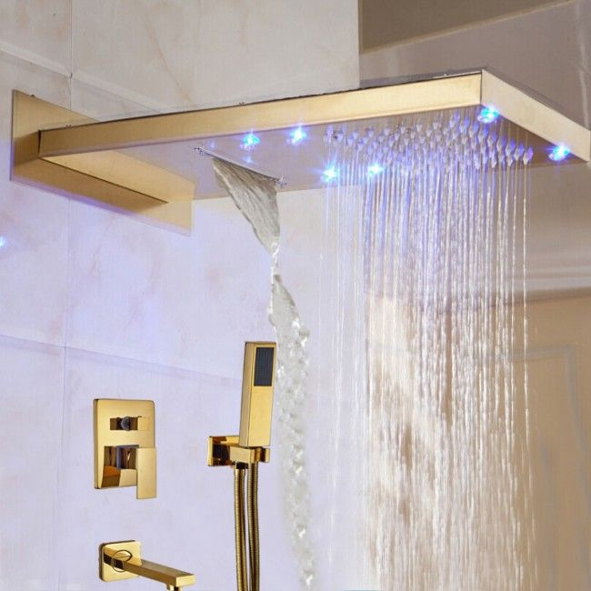 Juno Lava Wall Mount Color Changing Led Gold Finish Shower Set