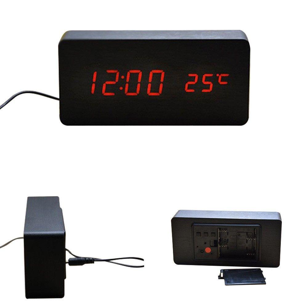 Promotion Quality Digital Led Alarm Clock Sound Control Wooden Despertador Desktop Clock Usb Aaa Powered Temperature Display Alarm Clock Led Alarm Clock Sound Control
