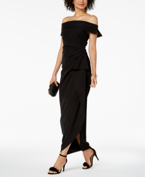 Vince Camuto Ruffled Off-The-Shoulder Gown - Black 2  9e3e61f0f8