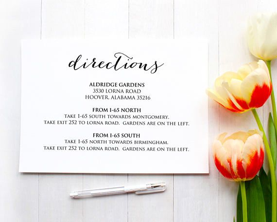 Directions Card Insert Wedding Direction Details Card Template Diy Details Template Printable Wedding Details Card Templates Wedding Brunch Invitations Post Wedding Brunch Invitations Brunch Wedding