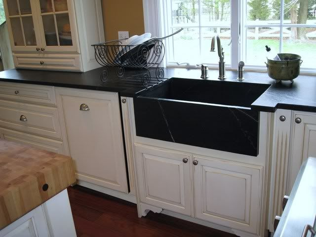 Soapstone Countertops And Sink With Top Of Island In