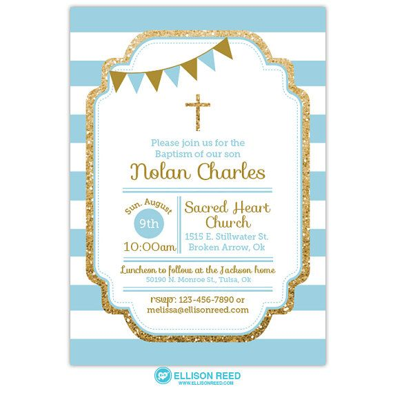 Blue gold glitter Baptism Invitation Baptism invitation Boy
