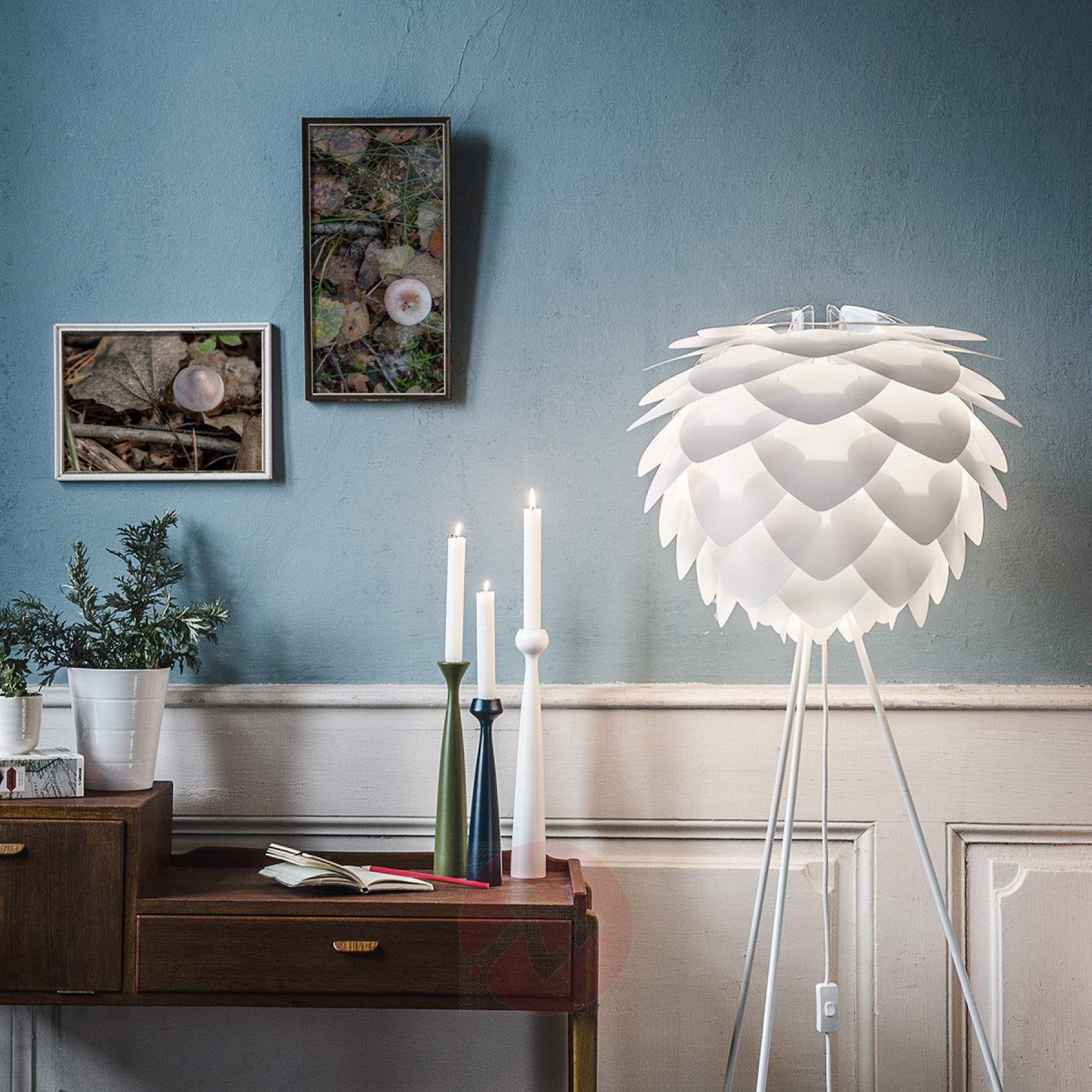 Trójnożna lampa stojąca Silvia medium, biała | Lampy.pl