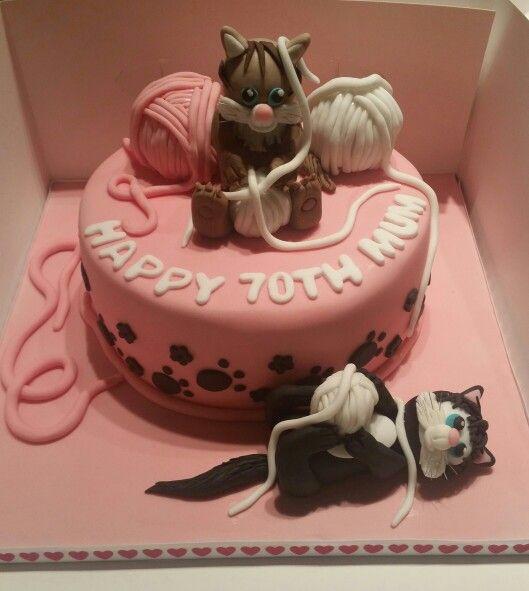 70th birthday cake with fondant cat toppers Islas birthday cake