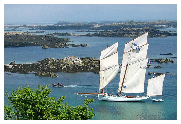 "La Bisquine ""La Granvillatse"" at Chausey. Beautiful boat, beautiful scenery."