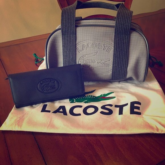 Lacoste Nylon Purse & Wallet NWOT-  If you would like to purchase separately let me know, we can negotiate prices. Navy and grey purse, two open pockets inside and one large zipper pocket. Wallet is navy with plenty of compartments and credit slots. Lacoste Bags