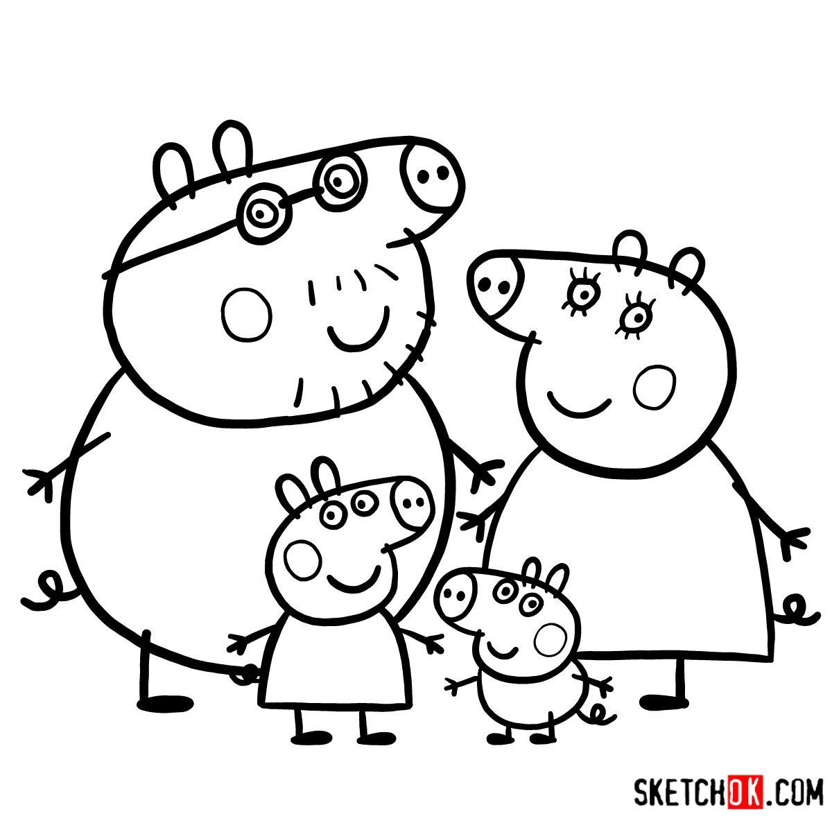 How To Draw Peppa Pig S Family Together Step By Step Drawing Tutorials Peppa Pig Coloring Pages Peppa Pig Colouring Peppa Pig Cartoon