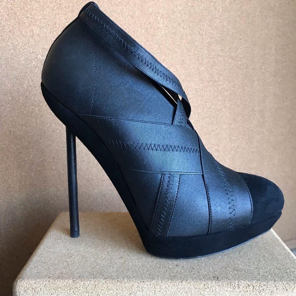 04f52c22bf1 Yves Saint Laurent YSL Divine Elastic Bandage Black Suede Ankle Boots, size  37 #YvesSaintLaurent #AnkleBoots