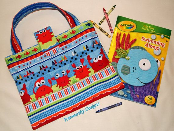 Kids Arts And Crafts Storage Beach Vacation Tote Coloring Book Crayons Child