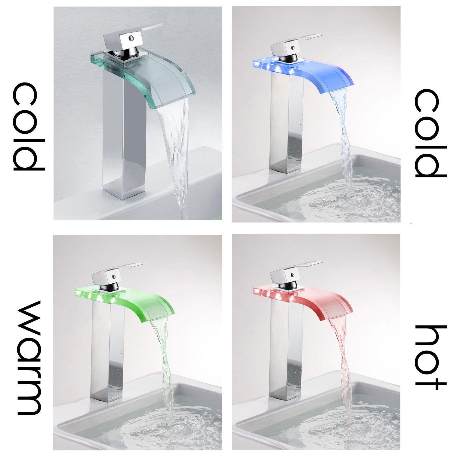 Elite \'8866C\' 3-color LED Light Single Lever Vessel Sink Faucet ...