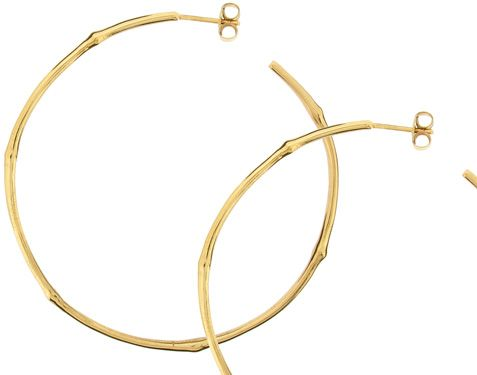 18K Gold Bamboo Hoop Earrings available in Silver Dinny