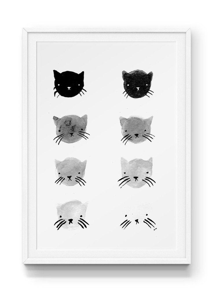 Greyscale Kitties Print | Pinterest