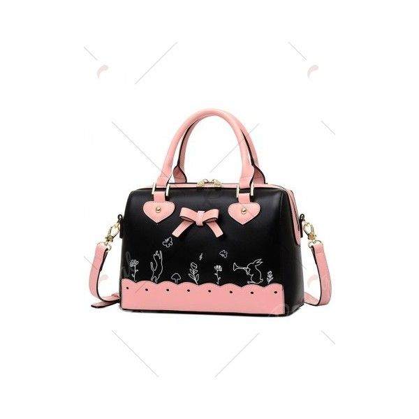 32774d01496e Scalloped Color Block Bow Tote Bag ❤ liked on Polyvore featuring ...