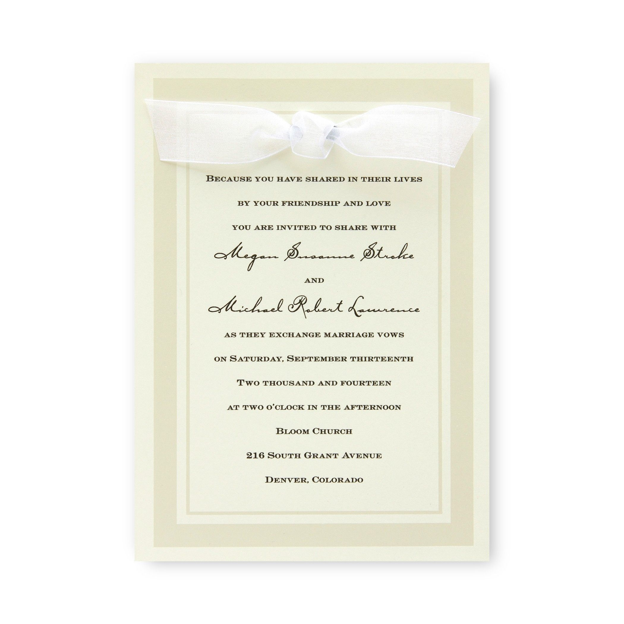 Claridge Wedding Invitations by TheAmericanWedding.com ecru or white ...
