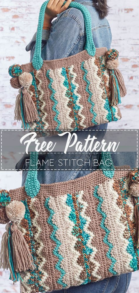 [Red Heart pattern with link to pattern]. Flame Stitch Bag – Free Crochet Pattern – Crochet Love
