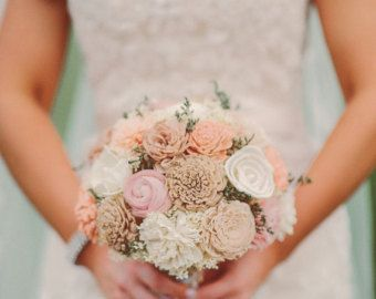 Large Wedding Bouquet Ivory Lt. Brown, Tan Blush Pink and soft Peach Sola Flowers and dried Flowers Bridesmaid Keepsake