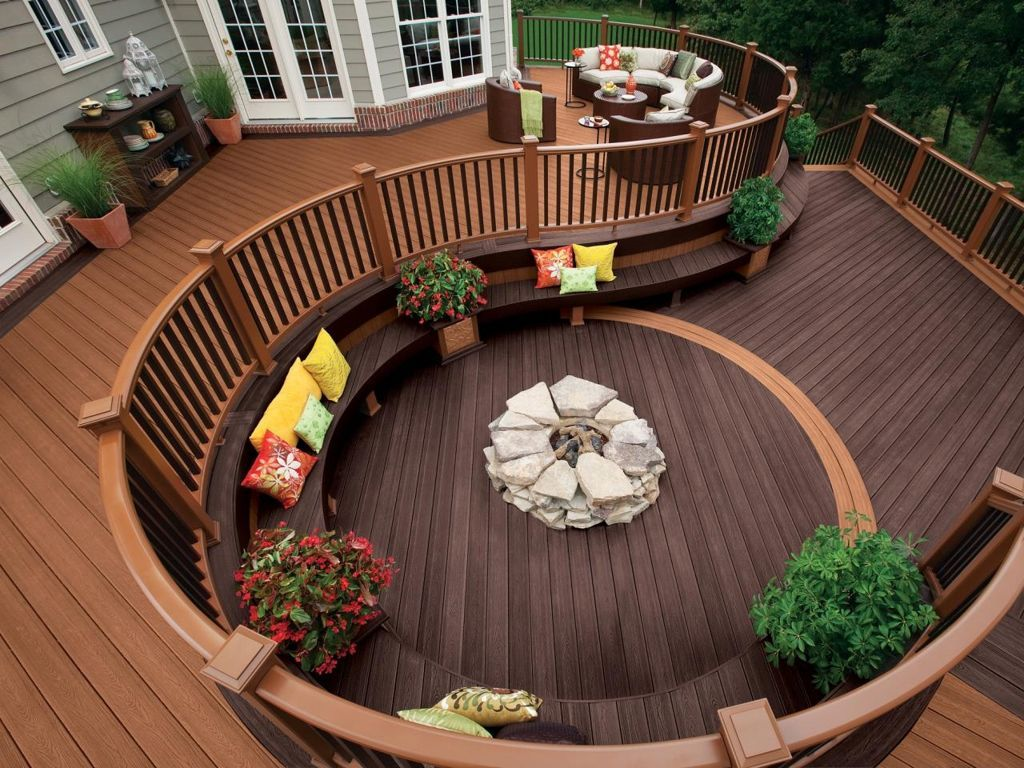 Lovely Backyard Wooden Deck Designs Ideas With Curved Wooden Railing Plus  Outdoor Seating Plus Stone Firepit