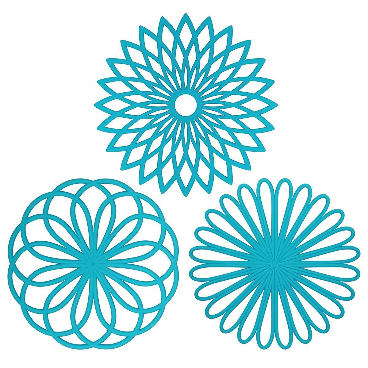 FANTM Silicone Multi Use Flower Trivet Mat(set Of 3 Pack) Premium Quality  Insulated Flexible Durable Non Slip Hot Pads And Coasters Cup Blue: Kitchen  U0026 ...