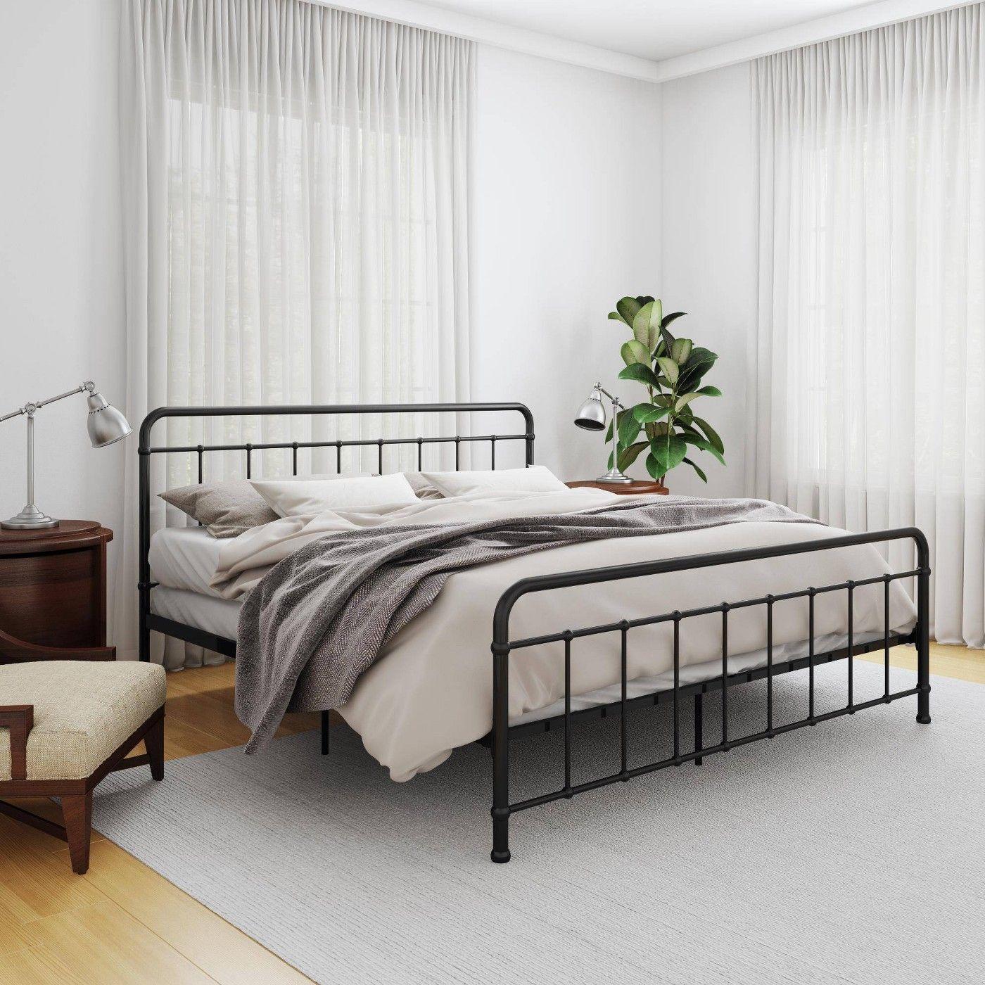 King Bancroft Metal Bed Room Joy Black Bed Frame King Size