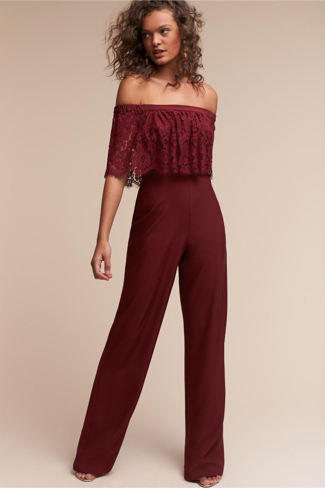 Part Boho And Part Modern Mila Jumpsuit In Wine From Bhldn Bridesmaids Jumpsuits Dresses Chiffon Lace