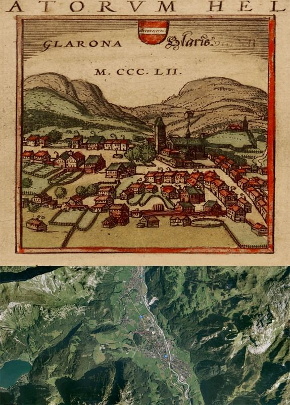 Superior #Glarus, #Switzerland #Map: Then(1572) And Now(2016) #OldCities #OldMaps  Http://old Cities World.blogspot.rs/2016/02/glarus Switzerland Map Then1572 And.  ...