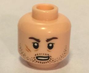LEGO Minifigure Head LIGHT FLESH Male Dual Determined Bared Teeth Red Eyes