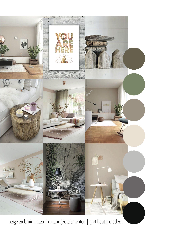 Moodboard Voor De Zolder Logeerkamer Werkkamer Met Zachte Kleuren Pastels Aardetinten En Ruw Hout Huis Interieur Interieur Woonkamer Interieur