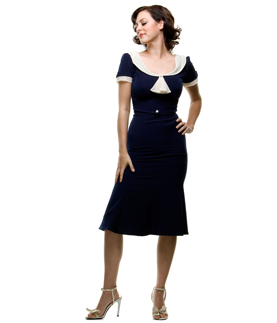 Stop Staring 1940's Style Navy & Ivory Railene Dress ...